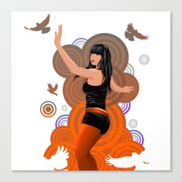 Dancing girl with doves Canvas Print