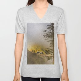 Mountains in the mist Unisex V-Neck