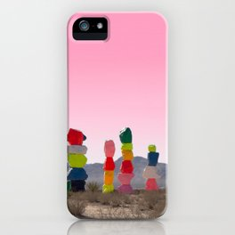 Seven Magic Mountains with Pink Sky - Las Vegas iPhone Case