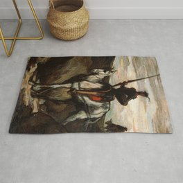 Don Quixote In The Mountains by Honore Daumier Rug
