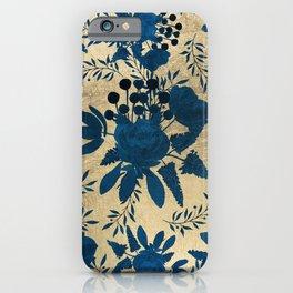 Elegant gold navy blue watercolor floral pattern iPhone Case