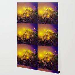 Unicorn In The Night Of Glow - My Fantasy Garden - #society6 Wallpaper