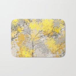 Abstract Yellow and Gray Trees Bath Mat
