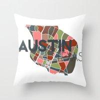 austin Throw Pillows featuring Austin Texas + by Studio Tesouro