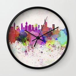Frankfurt skyline in watercolor background Wall Clock