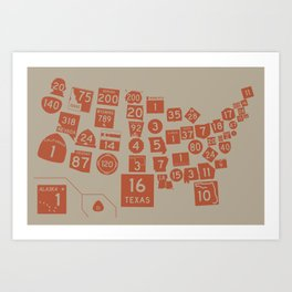 United State Highways of America - Rust Art Print