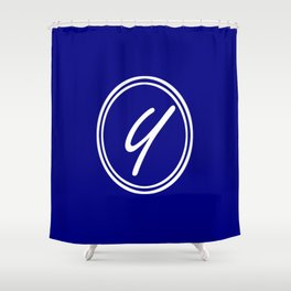 Monogram - Letter Y on Navy Blue Background Shower Curtain