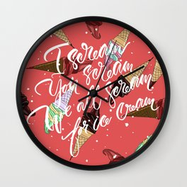 Ice Cream. Handlettering cartoon-style pop-art. Wall Clock