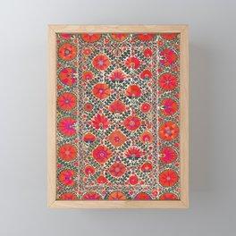 Kermina Suzani Uzbekistan Colorful Embroidery Print Framed Mini Art Print