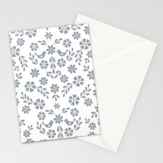 Silver gray symmetric floral bird heart Stationery Cards