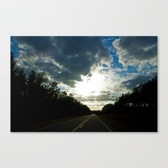 Driving on a Cloudy Evening Canvas Print
