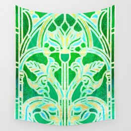 Art Nouveau Lime Green and Gold Batik Texture Wall Tapestry