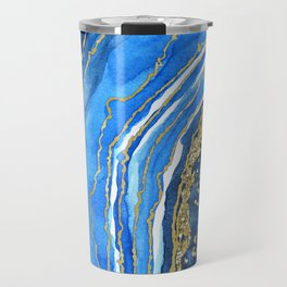 Cobalt blue and gold geode in watercolor (2) Travel Mug