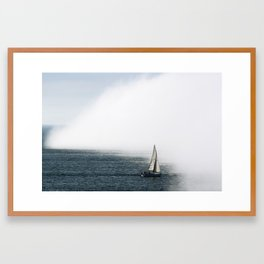 Sailboat Into Fog Framed Art Print
