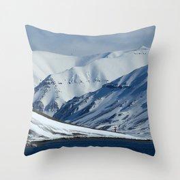 Sailing to Pyramiden in Svalbard Throw Pillow