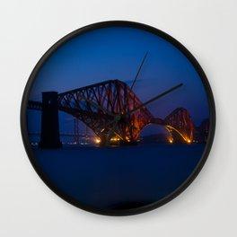 Forth rail bridge at night 2 Wall Clock
