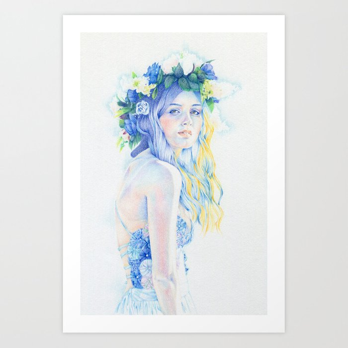 Pensive Blue Art Print