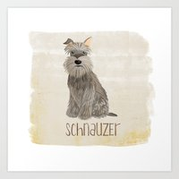 schnauzer Art Prints featuring Schnauzer by 52 Dogs