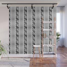 Black And White Hibiscus Honu Stripes Wall Mural