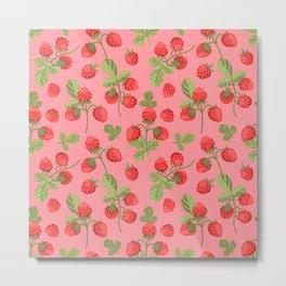 Juicy strawberries on a pink background Metal Print
