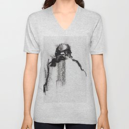 Daruma Charcoal Black and White Drawing of Seated Old Man Back View Unisex V-Neck