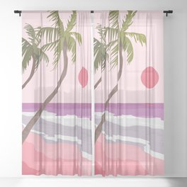 Tropical Landscape 01 Sheer Curtain