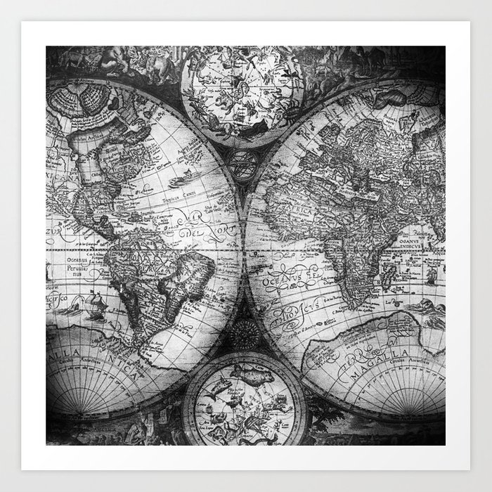 World map antique vintage black and white art print by naturemagick world map antique vintage black and white art print gumiabroncs