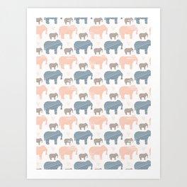 Pink and Blue Kids Elephants Silhouette Seamless Art Print