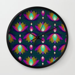Variations on a Lotus II - Jewel on Green Wall Clock