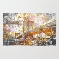 brooklyn bridge Area & Throw Rugs featuring Brooklyn Bridge by LebensART