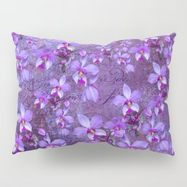 purple orchids on a textured wall Pillow Sham