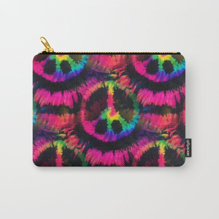 Hot Pink Peace Tie Dye Carry-All Pouch