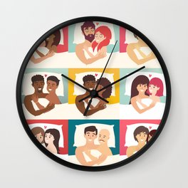 Couple in bed vector set. Happy family couple illustration. Happy family couple. Gay couple in bed. Wall Clock
