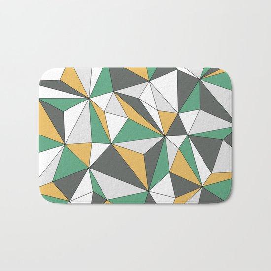 Geo - orange, green, gray and white. Bath Mat