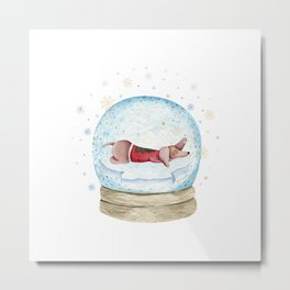 Dog Snow Globe (3) Metal Print