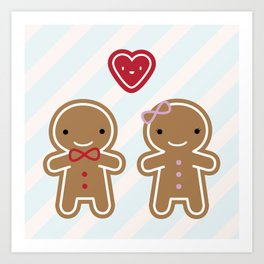Cookie Cute Gingerbread Couple Art Print