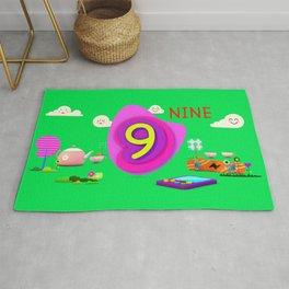 Number nine - Kids Art Rug