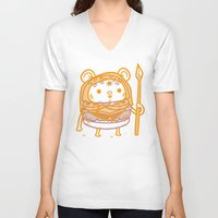 ewok V-neck T-shirts featuring Cheeseburger Ewok by Philip Tseng