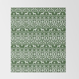 Jack Russell Terrier fair isle christmas sweater dog breed pattern holidays green and white Throw Blanket