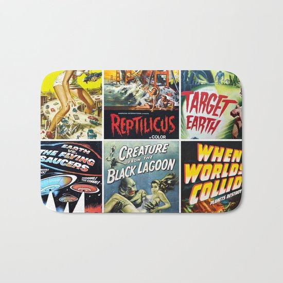 Vintage Sci-Fi Movie Poster Collage Bath Mat