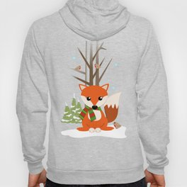 Cute winter fox with a red / green scarf, Hoody
