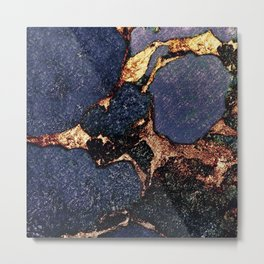 INDIGO & GOLD GEMSTONE Metal Print