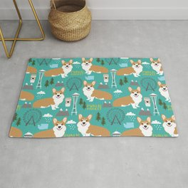 Corgi seattle washington welsh corgi pattern print dog lover gifts space needle ferris wheel coffee Rug