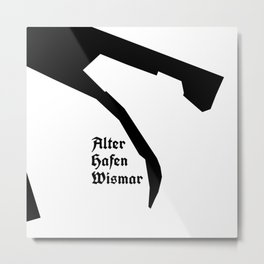 Alter Hafen Wismar– Black on White II Metal Print
