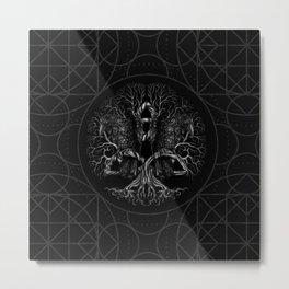 Tree of life -Yggdrasil with ravens Metal Print