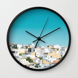 Urban Poster, Spain, Printable Photography, Architecture, Building, Palm Tree, Wall Art, Blue, White Wall Clock