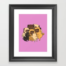 Pugs Group Hug Framed Art Print