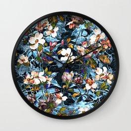 Dogwood and MagnoliaI (Turquoise)Pattern Wall Clock