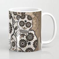 sugar skulls Mugs featuring Sugar skulls by nicky2342