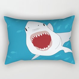 Shark Attack Underwater With Fish Swimming In The Background Rectangular Pillow